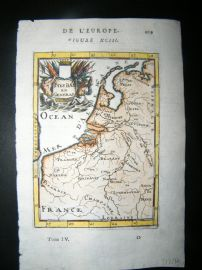 Mallet 1683 Hand Col Map. Pays bas en general. Belgium, Netherlands, Germany